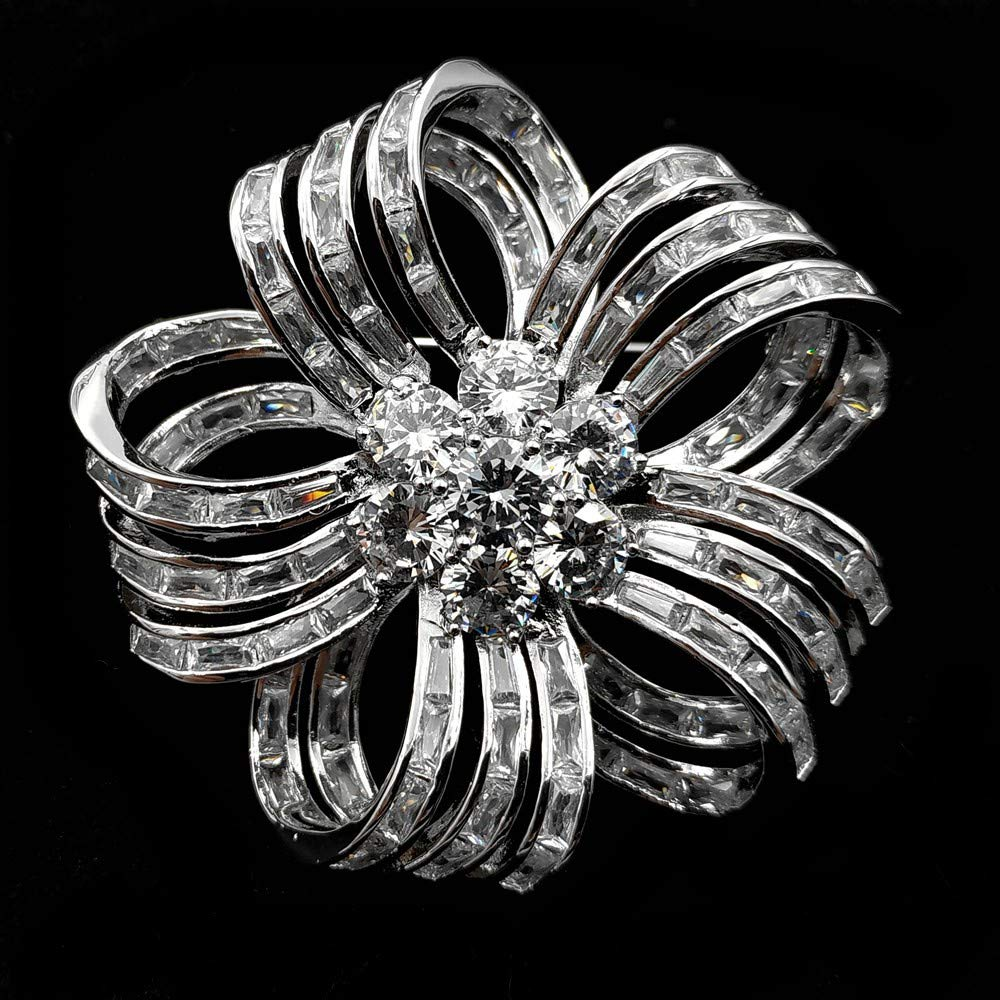 Edwardian Vintage Colorless Bow Ribbon Shape Flower Brooches Silver Tone Baguette Cut CZ Five Petal Flower Pin Wedding Accessory