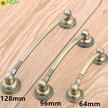 64mm 96mm 128mm Vintage Style Furniture Handles Bronze Drawer Cabinet Pull Knob Antique Brass Dresser Door Handle 2.5 3.75 5 desser pull bronze drawer cabinet knob 64mm antique brass vintage furniture door handle 2 5 retro shaky drop ring handle pull