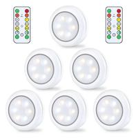 300/600Pack Wireless LED 80Lumens Puck LightWith Remote Control, Under Cabinet Light Set, Battery Powered LED Round Closet Light