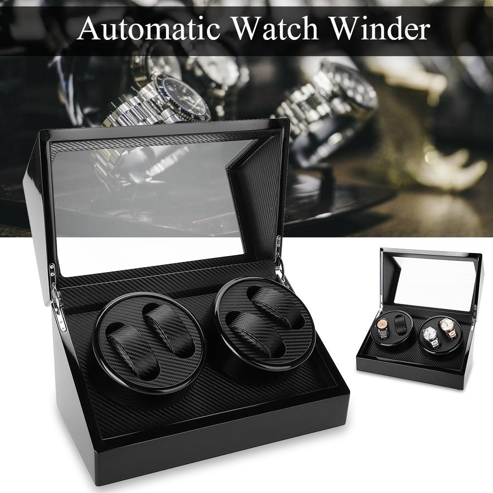 Hohe Qualität Mechanische Uhr Rotation Wickler für 4 Automatische Uhren winder Halter Lagerung Vitrine Box organizer-in Uhrenboxen aus Uhren bei  Gruppe 1