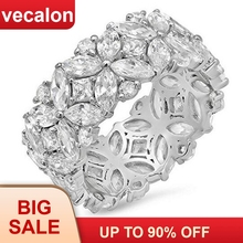 Vecalon Flower shape Promise Ring Set 925 sterling silver 5A Zircon Cz Engagement rings for women Men Jewelry Gift