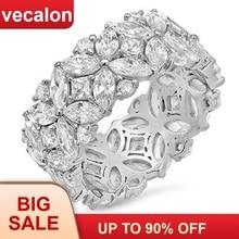 Vecalon flor forma anel de promessa conjunto 925 prata esterlina 5a zircon cz anéis de noivado para mulheres presente de jóias