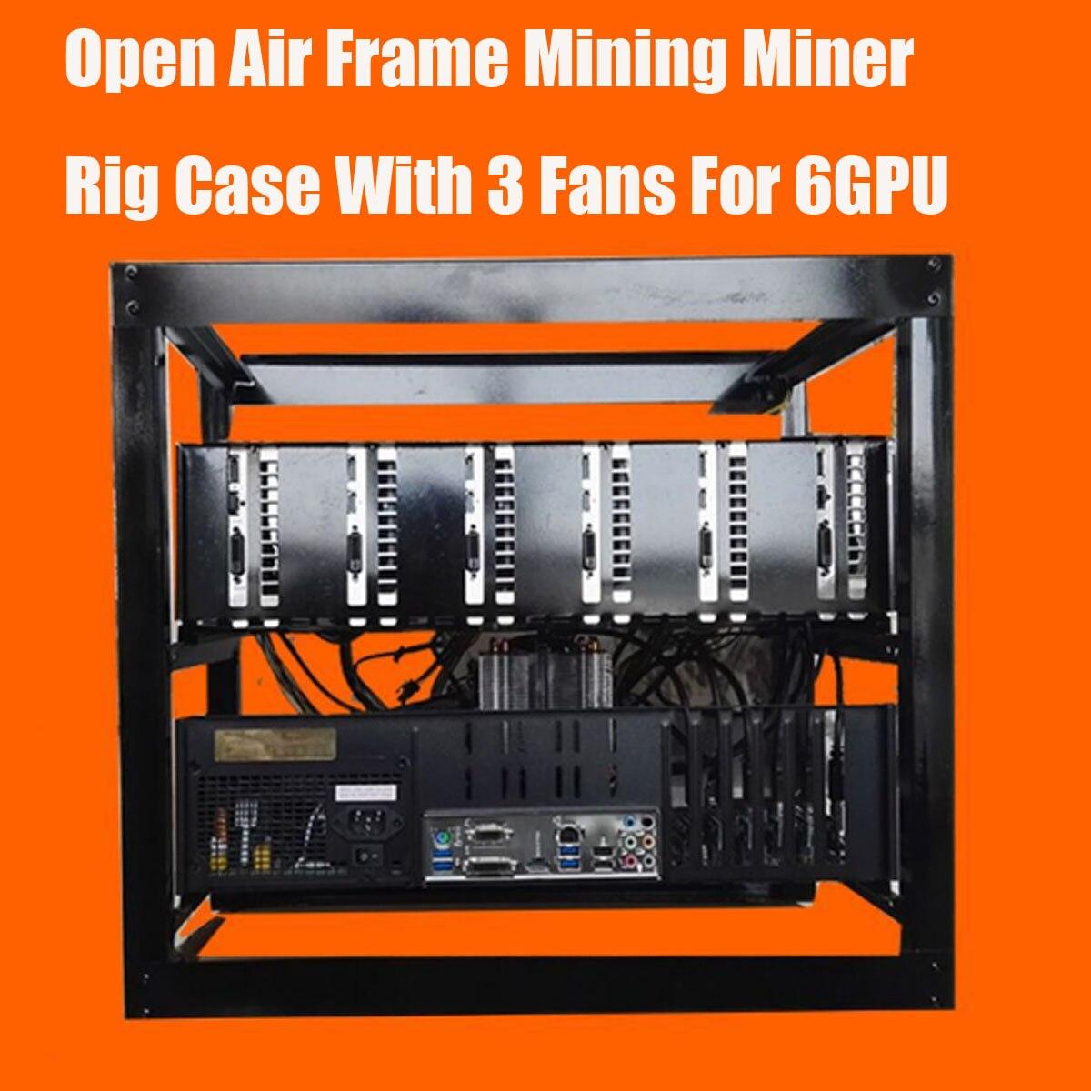 Boîtier de mine de mineur bricolage boîtier de mine de mineur à Air ouvert avec ventilateurs 3x pour 6 GPU ETH BTC Ethereum