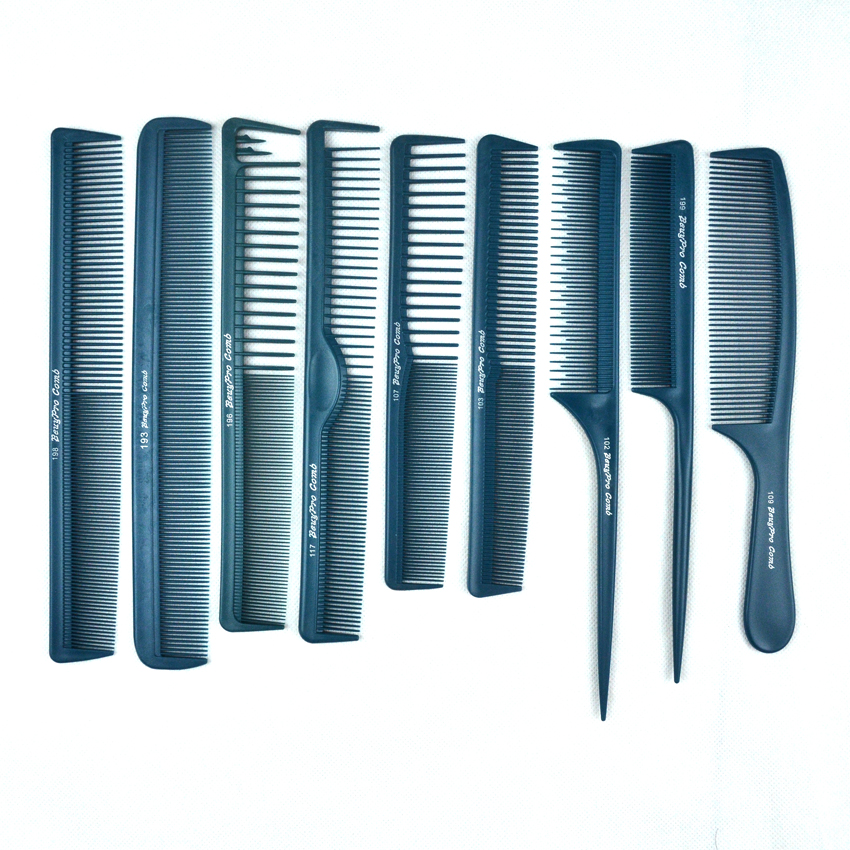 Blå Color Hair Cut Comb Set i 9 stk / lot, Slitesterk frisørkammer for frisyre, hårklipping Carbon Comb V-91 God design