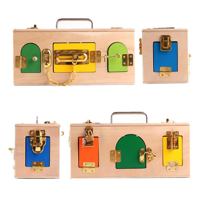Éducation préscolaire apprentissage quotidien débloquer jouet boîte de verrouillage aide pédagogique jouet contreplaqué éducation précoce jouets éducatifs pour enfants à - 2