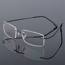 979f186f2d81d Óculos sem aro De Titânio Quadros Homens Homens Frame Ótico Prescrição  Espetáculo Óculos Sem Armação De óculos Transparentes