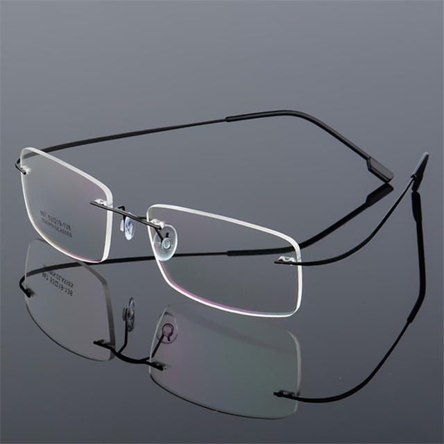 50ea9e75005d Rimless Titanium Eyeglasses Frames Men Men Optical Frame Prescription  Spectacle Frameless Glasses Transparent Eye glasses