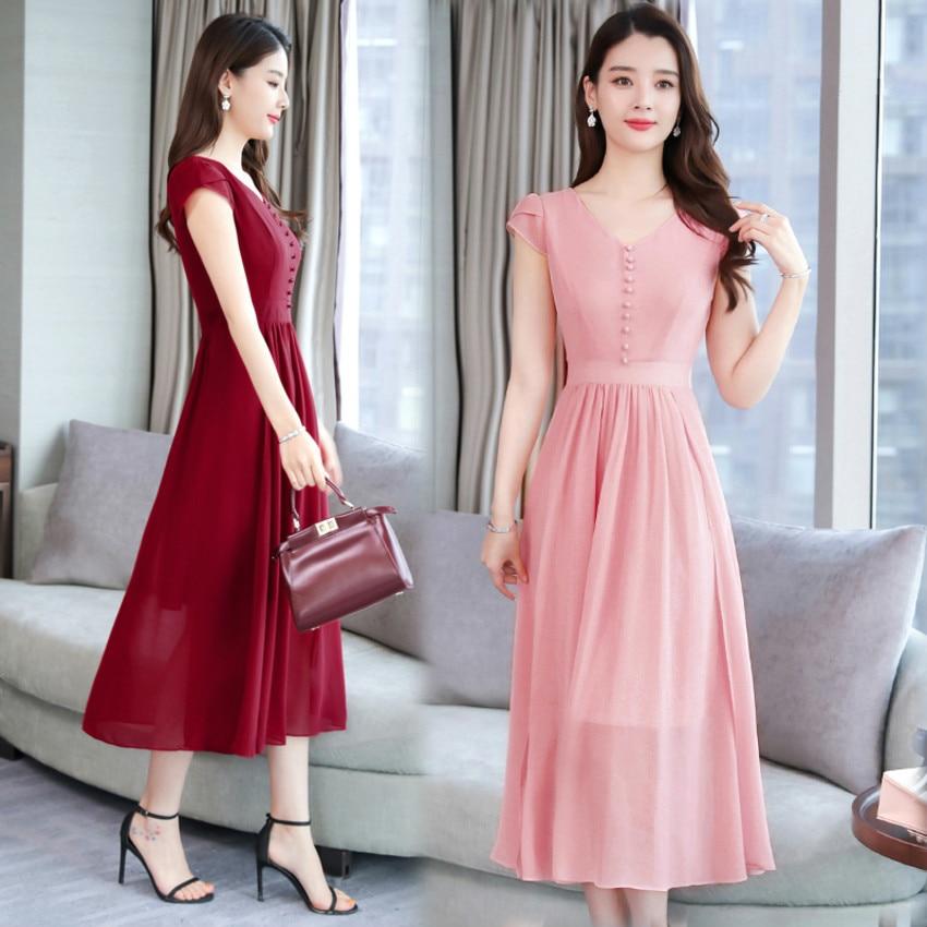 2019 Summer Dress Elegant V neck Short Sleeve Work OL Women Dress A Line Chiffon Dresses Vestidos De Festa Plus Size M 4XL in Dresses from Women 39 s Clothing