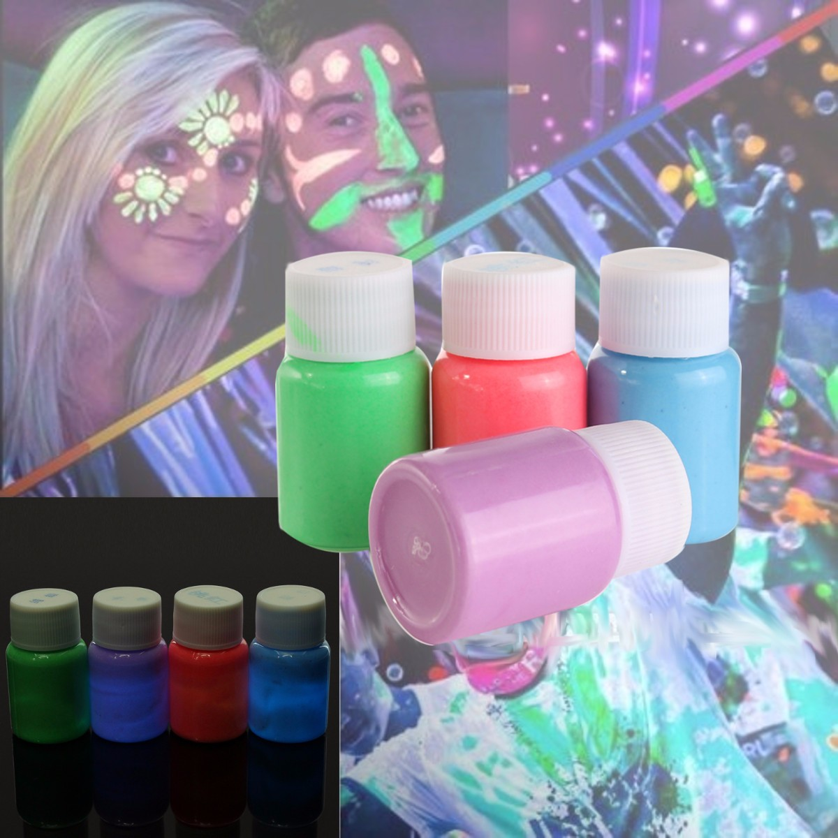 Hot Selling 5Colors Acrylic Paints Face Body Paint Fluorescent Grow In Dark Pigments Makeup Art Painting Luminous Acrylic Paints
