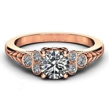 14k Rose Gold Diamond Fashion Engagement Ring Anillos De Bague Etoile Bizuteria Dropshopp Ruby Gemstone Rings for Women Jewelry