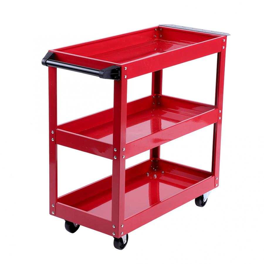 3-Tier Storage Shelves Tools Cart With 360 Degree Free Rotation Wheels For Workshop Garage Use