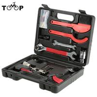 Lixada 14 in 1 Bike Bicycle Cycling Repair Tool Kits Set Universal Home Outdoor Hub Cone Spanners Chain Rivet Extractor Toolbox