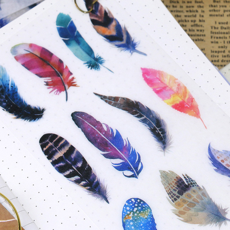 6Sheets/Pack Kawaii Stationery Stickers Cute Feather Stickers Lovely Paper Stickers For Kids DIY Diary Scrapbooking Photo Ablums