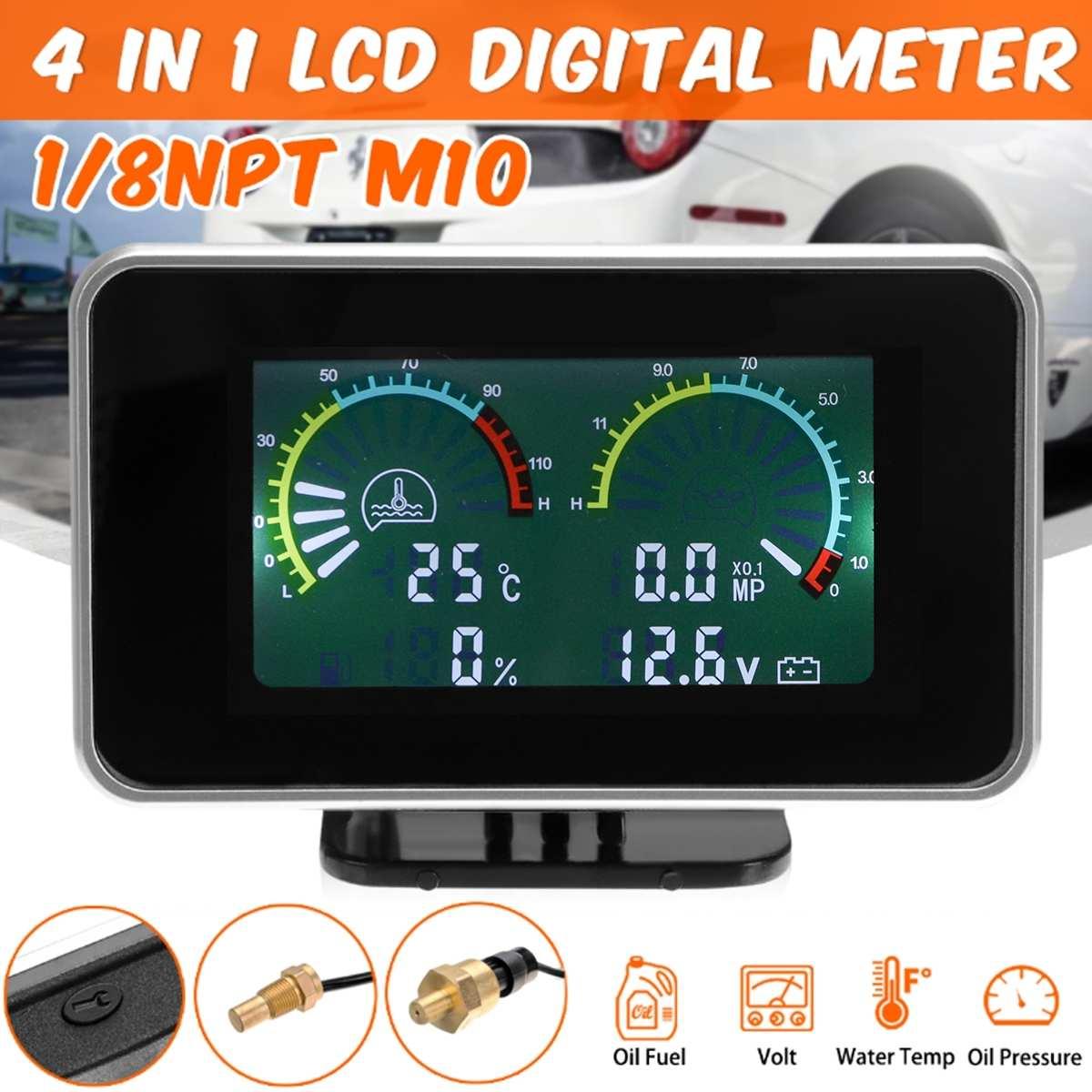 12V24V 4in1 LCD Medidor Digital de Carro Tensão de Óleo De Pressão De Combustível Medidor De Água Temp M10 Auto Peças de Reposição