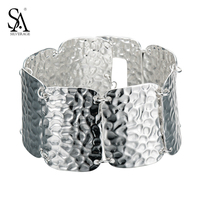 SA SILVERAGE 925 Sterling Silver Hot Sale Vintage Style Tribal Retro Silver Bracelet For Women Wide Chain Bangle Jewelry