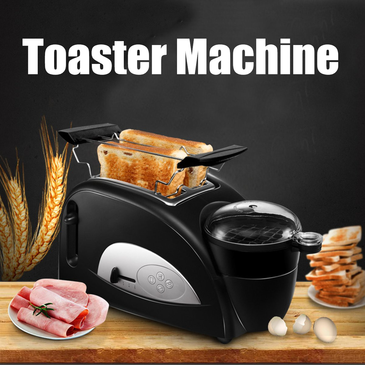 Multifunctional 2 in 1 Stainless Steel 2 Slices Bread Toaster Electric Egg Cooker Breakfast Maker Household Kitchen Oven Machine