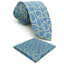 Paisley Azure Yellow Silk Mens Necktie Pocket Square Set Wedding Party Extra long size