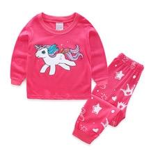 Купить с кэшбэком 2019 New Cotton Long Sleeve Kids Pajamas Cartoon Horse Girls Nightwear Pijama Infantil Kids Girl Pink Pajama Sets