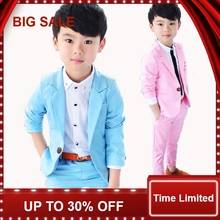 Solid Pink/blue child Blazers suit Fashion Casual Kid's clothing Set spring autumn Jacket + trousers 2 pieces set 2-10Y цена
