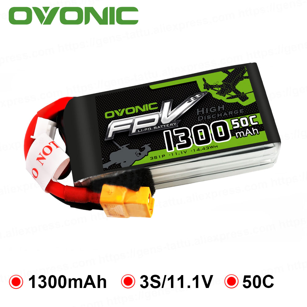OVONIC 1300 mAh 50C Max 100C 3 S 11.1 V Bateria Lipo com XT60 Conector para 250 Quadro FPV RC zangão Heli Barco Quad Carro