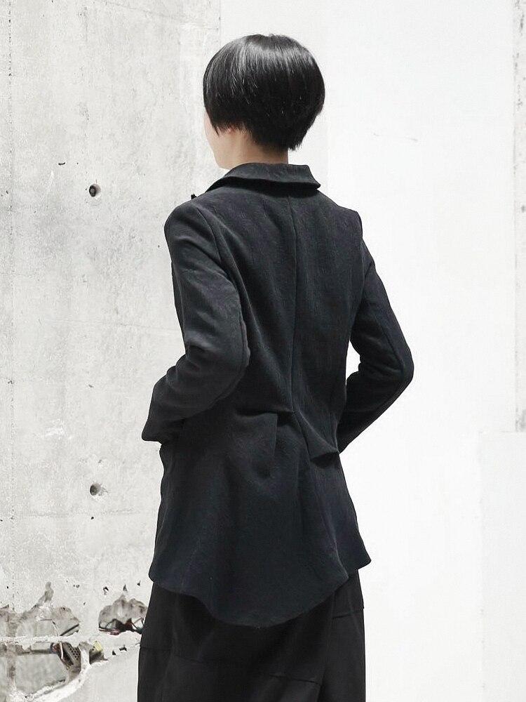 Femmes Pli Jacquard Noir Manches 2019 Irrégulière E045 Veste Lâche Revers Nouveau Printemps Mode Ourlet Marée Black Longues Manteau De w0x74qx