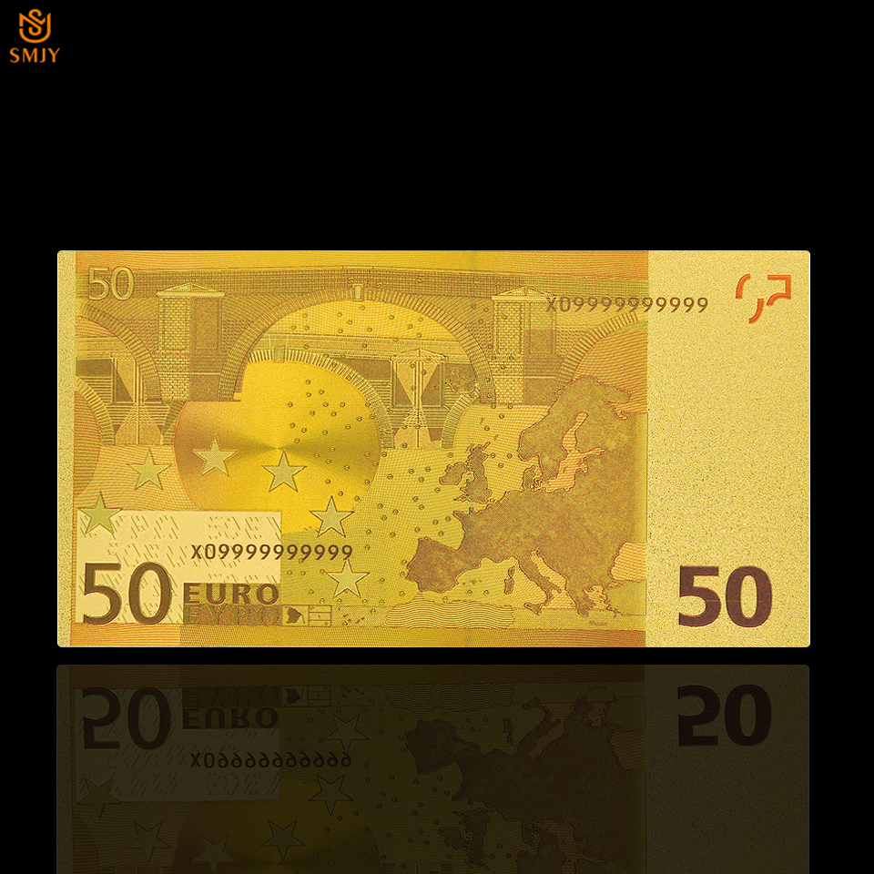 Euro Gold Plated World Currency Paper 50 Euro Gold Foil Bank Note Money Gold Banknote Collection in Gold Banknotes from Home Garden