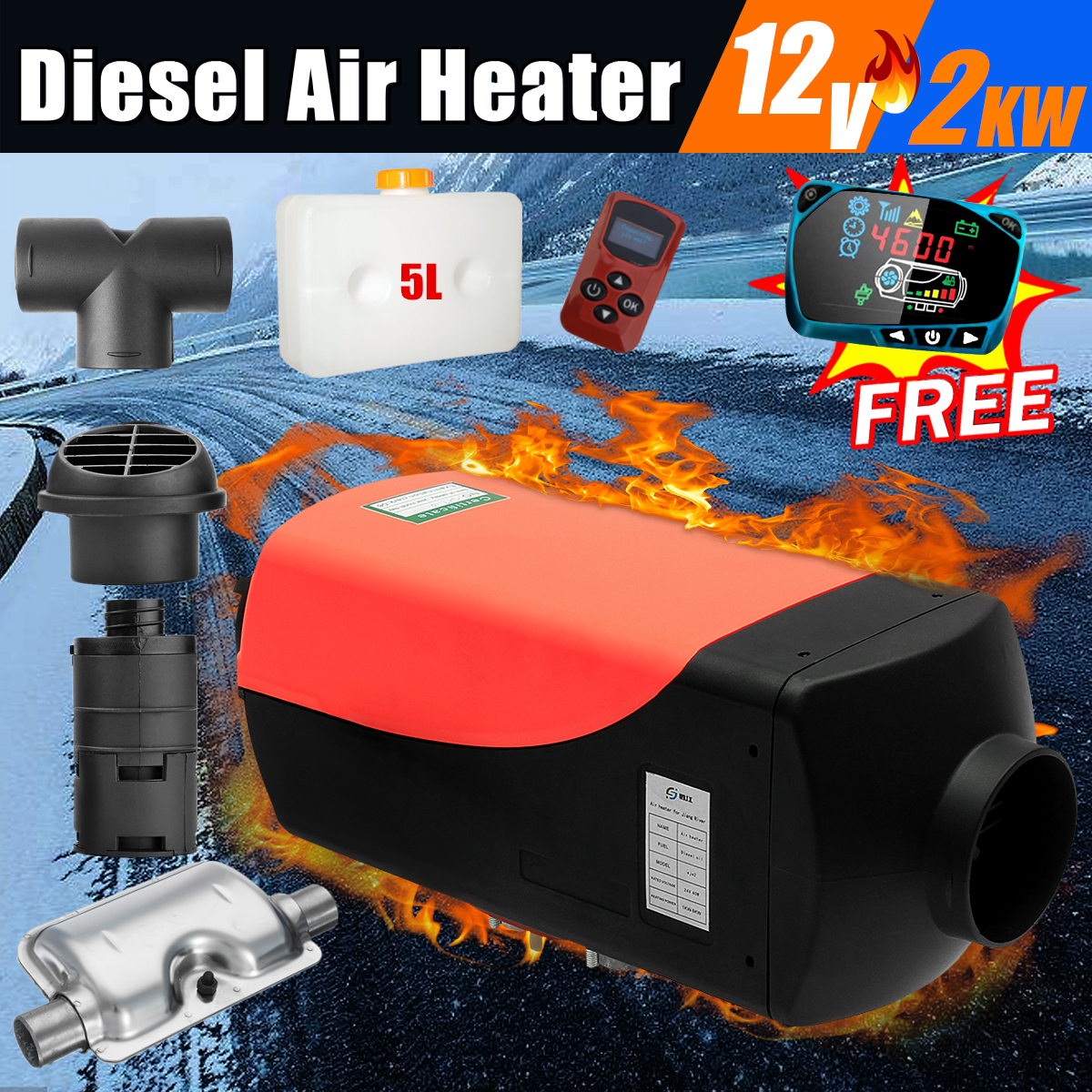 Car Heater 2KW 12V Air Diesels Heater Parking Heater With Remote Control LCD Monitor For RV, Motorhome Trailer, Trucks, BoatsCar Heater 2KW 12V Air Diesels Heater Parking Heater With Remote Control LCD Monitor For RV, Motorhome Trailer, Trucks, Boats