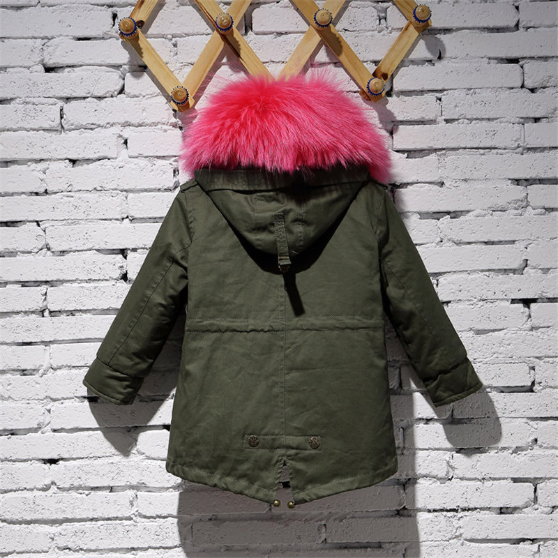 2c66f56ae225 Children Army Green Coat Kids Real Natural Rabbit Fur Clothing ...