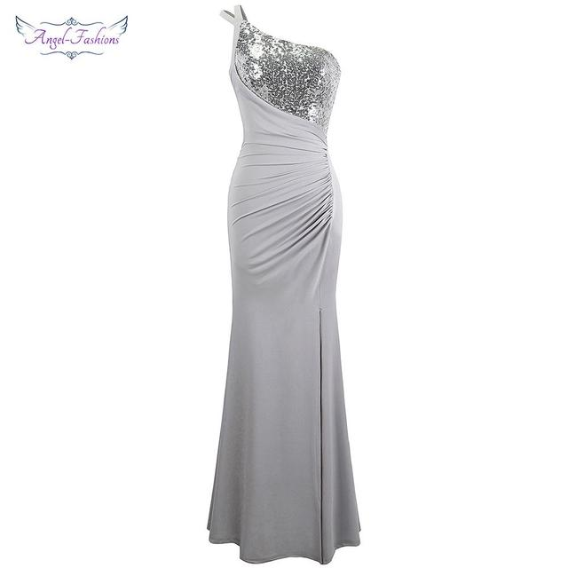 d5d8e643db8 Angel-fashions One Shoulder Evening Dress Gray Pleated Birthday Party Gown  399