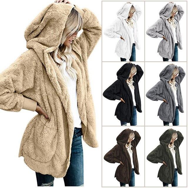 Wipalo Осень Зима Новый женский плюс размер длинный кардиган с капюшоном с длинным рукавом Повседневные свитера Женские однотонные более размеры Свободное пальто S-5XL