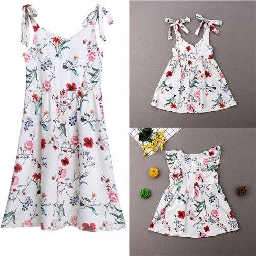 2019 été famille robe mère et fille correspondant fille tenues robes maman et fille correspondant vêtements coton 3