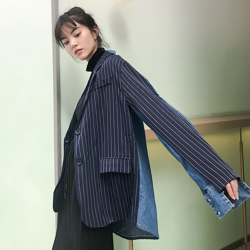 EWQ 2019 New Summer Spring Fashion Loose Long Sleeve Lapel Single Breasted Striped Split Joint