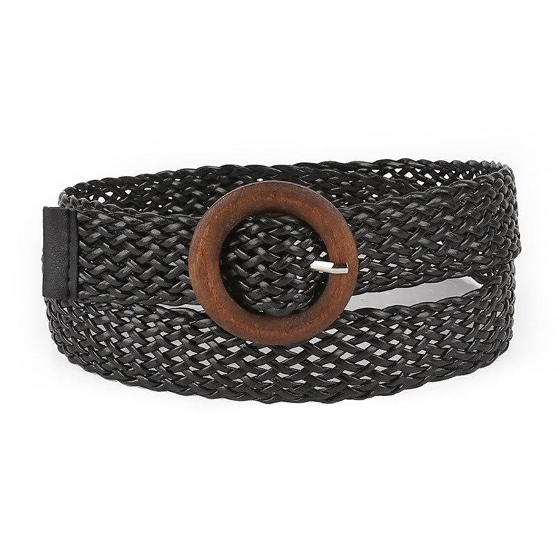 2019Hot nuevos cinturón nuevo estilo de colores de caramelo con cuerda de cáñamo Cinturón trenzado cinturón mujer/cinturón para vestido hebilla redonda