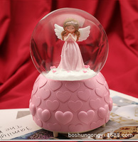 Angel snow with light music box snow globe home decoration accessories storm glass miniature christmas birthday gifts