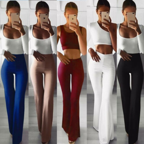Pants & Capris Aspiring Fashion Women Palazzo High Waist Flare Wide Leg Pant 2019 New Solid Slim Bodycon Stretch Trouser Hot S-xl