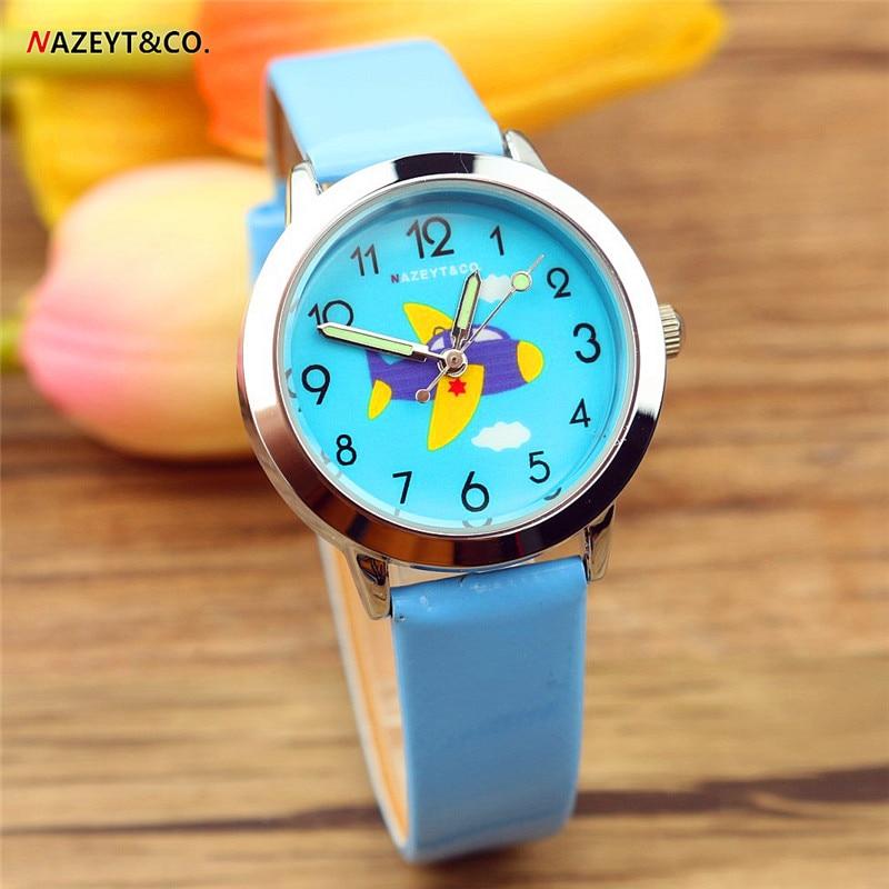 2019 New Arrived Kids Student Leather Watch NAZEYT High Quality Luminous Hands Aircraft Dial Boys Girls Quartz Reloj Infantil