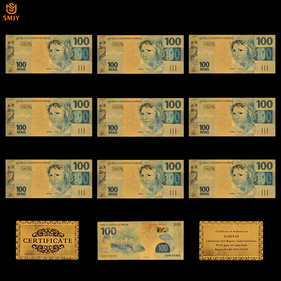 Banknote Replica Brazil 100-Reais-Bank Money-Collection Currency-Paper Bill Gold-Plated
