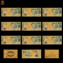 10 sztuk dużo pozłacane banknot brazylia 100 Reais Bank Bill replika waluta kolekcja papierowych banknotów i prezenty świąteczne