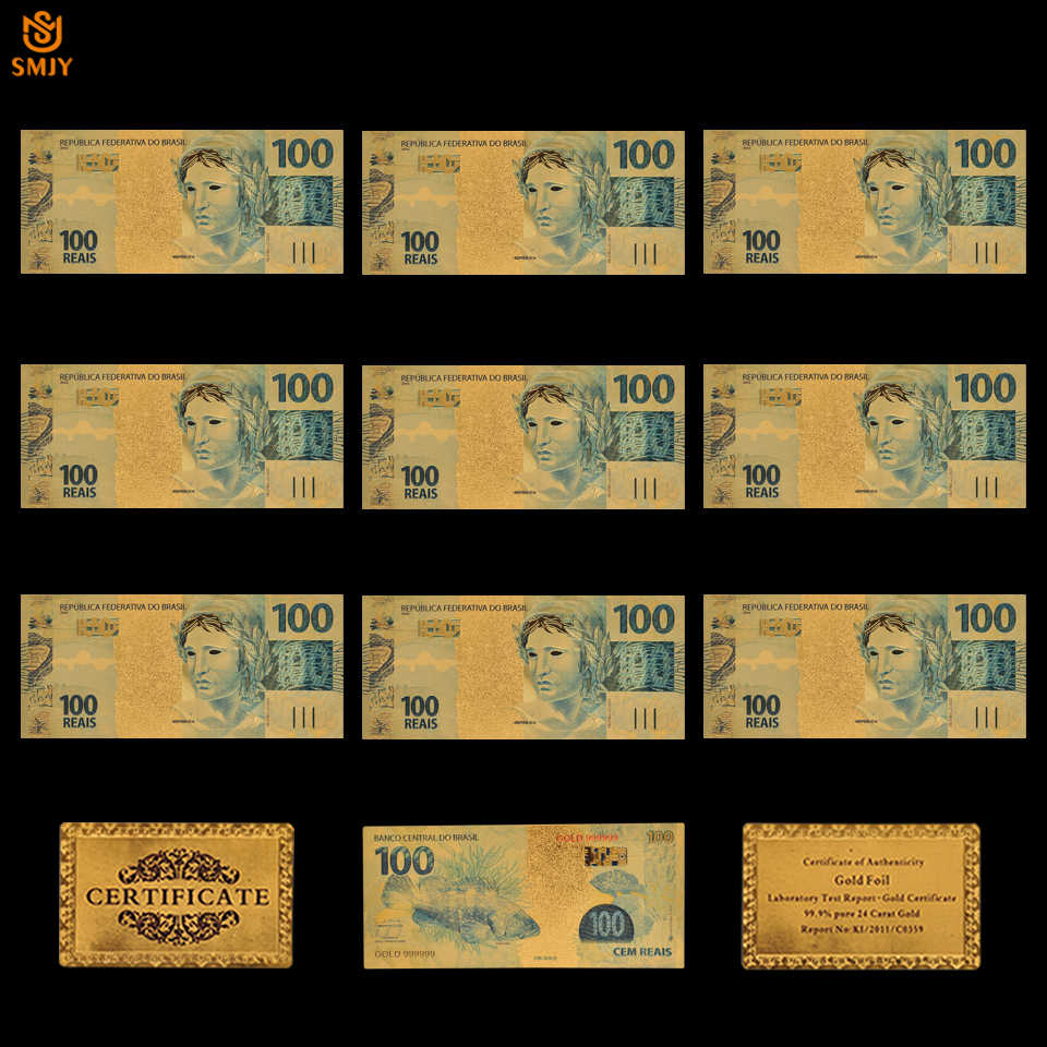 World Souvenir Gold Banknote Brazil R$ 50 Reais With COA Certificate Display