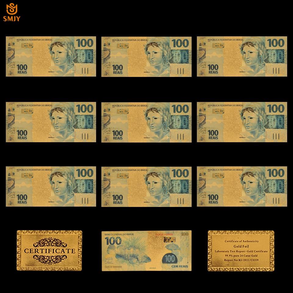 Lote de 10 Uds de billetes chapados en oro Brasil 100 Reais Bank réplica de papel moneda COLECCIÓN Y REGALOS FESTIVOS