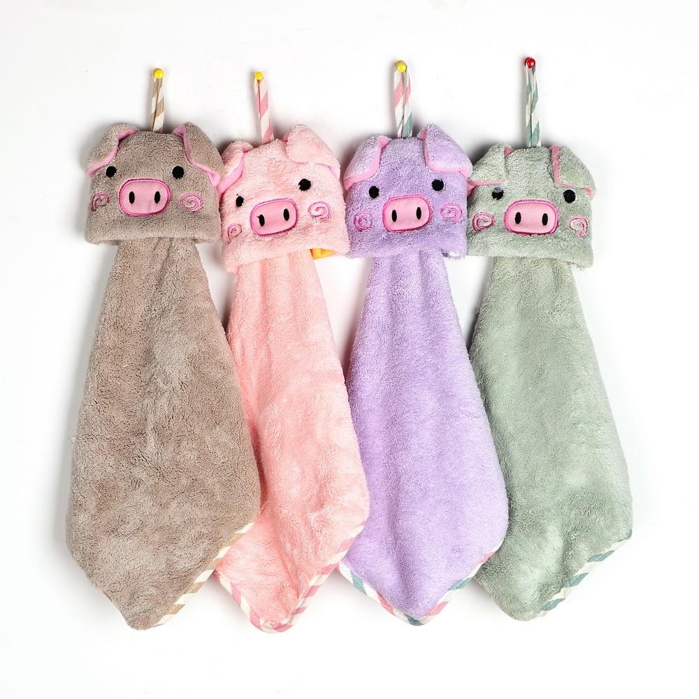 Toalla de animales de dibujos animados de lana de Coral cabeza de cerdo toalla de mano Super absorbente paño de limpieza toalla de mano del hogar Mantel de mesa decorativo GIANTEX mantel de algodón mantel redondo para comedor