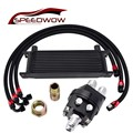 SPEEDWOW 13ROW двигатель гоночный масляный радиатор + нержавеющая сталь поворотный шланг линия + перемещение мужской сэндвич фитинг адаптер части...