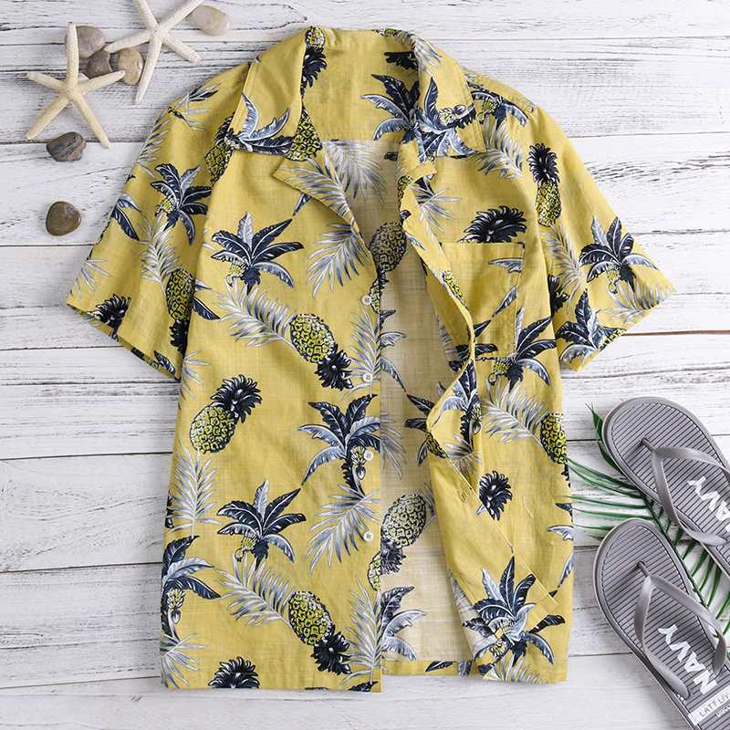 NEUE Blickfang Hawaiian Shirts Tropical Mens Shirts Kleid Kurzarm Revers Kragen Floral Strand Urlaub Kleidung Sommer 4XL