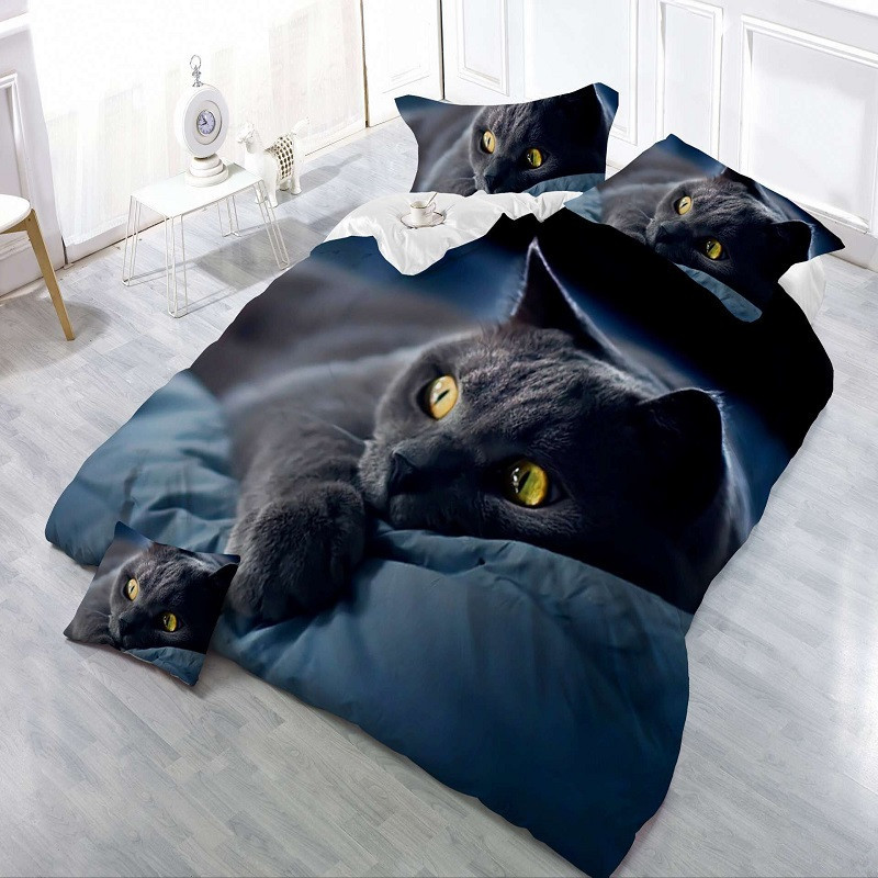 Home Textiles 3d Bedding Set Europe And America Comfy New Design Bedding Set Home Soft Cat Printing Duvet Pillowcase Bed Set