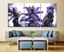 Home Decor Modular Canvas Picture 3 Piece Ahri League of Legends LOL Game Painting Poster Wall For Home Canvas Wholesale ollin professional крем шампунь медовый коктейль эластичность волос 500 мл