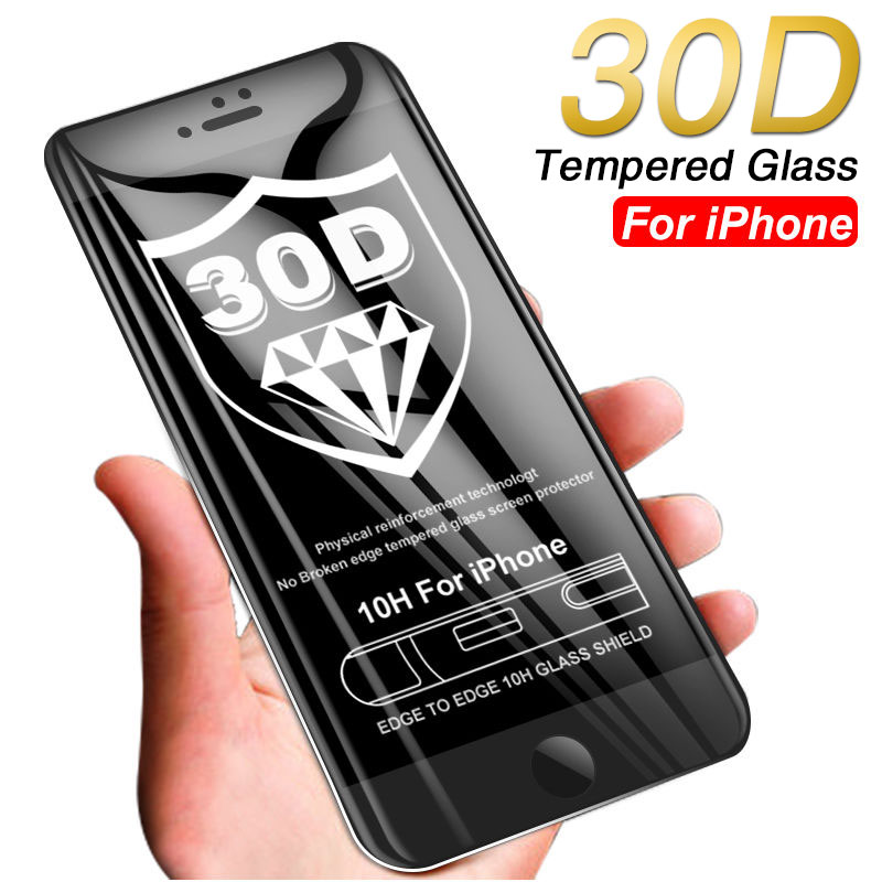30D Curved Tempered Glass On For iPhone 7 8 6 6s Plus XR X Full Edge Cover Protective For iPhone Xs Max Screen Protector Glass image