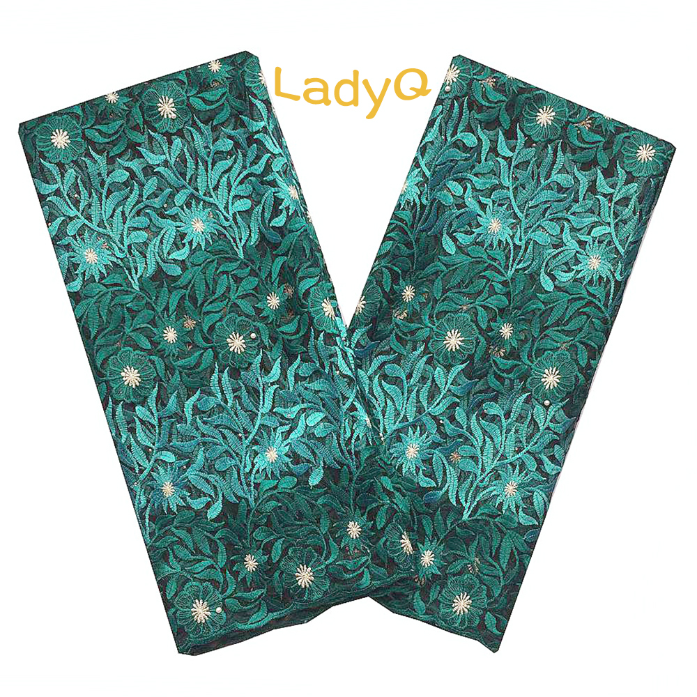 LadyQ Newest African Lace Fabric 2019 High Quality Teal Green French Lace Swiss Lace Material Embroidered