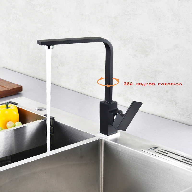 Black Painting Kitchen Faucet 360 Rotate Black Mixer Faucet for Kitchen Rubber Design Hot and Cold Deck Mounted Crane for Sinks