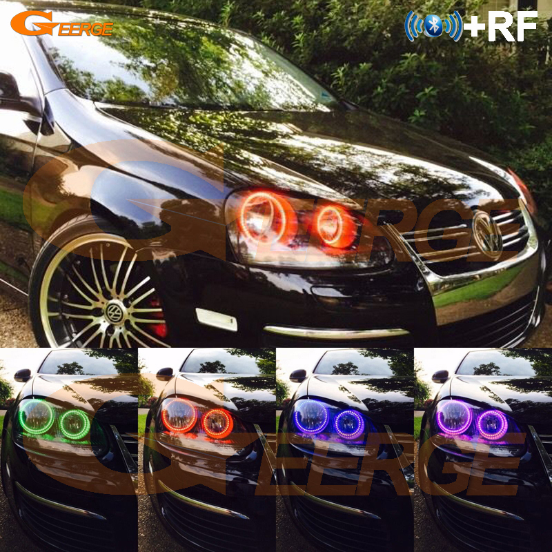 For Volkswagen VW Golf 5 V MK5 2003-2009 Excellent Angel Eyes kit Multi-Color Ultrabright RGB LED Angel Eyes Halo Rings titanium ring