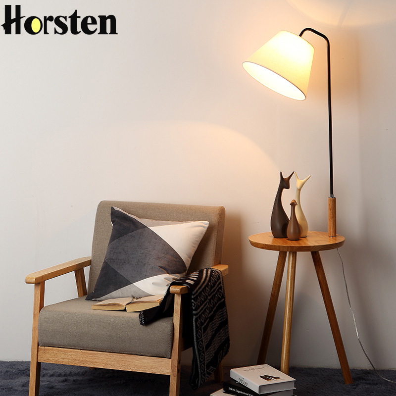US $136.4 26% OFF|Wooden Floor Lamp OAK Modern Living Room Bedroom Study  Floor Standing Lamps White Fabric Wooden Floor Lights Home Decor-in Floor  ...
